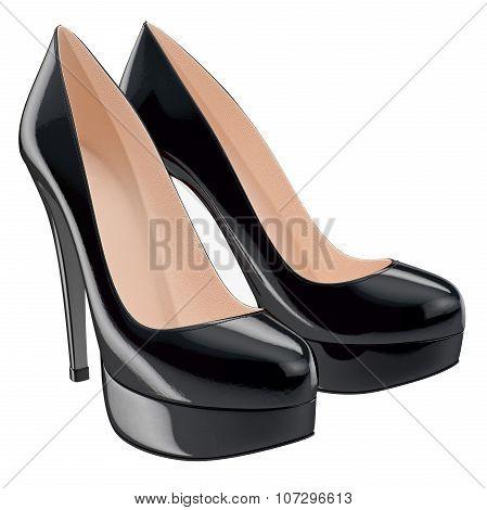Black varnished shoes on high heels