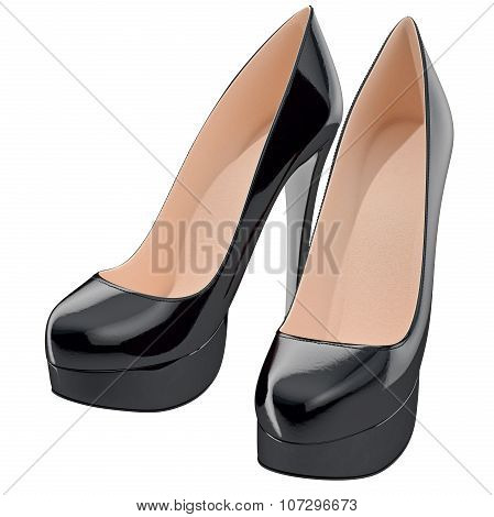 Black lackered shoes on high heels