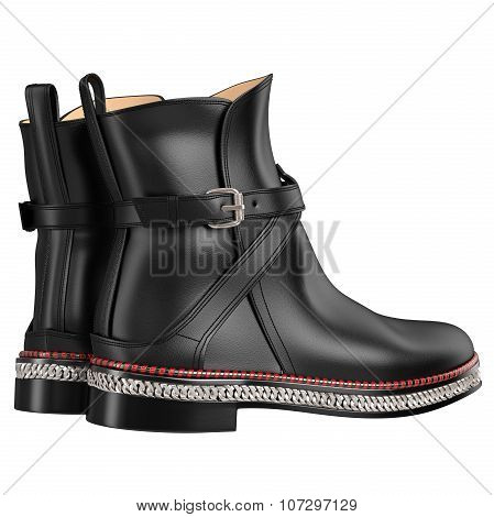 Exclusive black leather boots