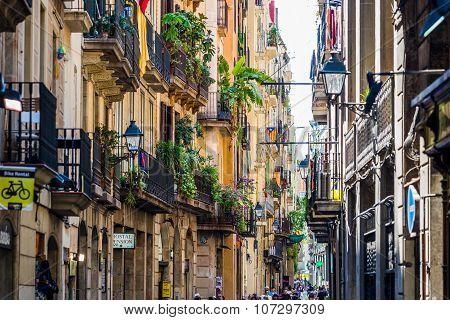 Barcelona, Spain June 30, 2015: Barcelona Street Life
