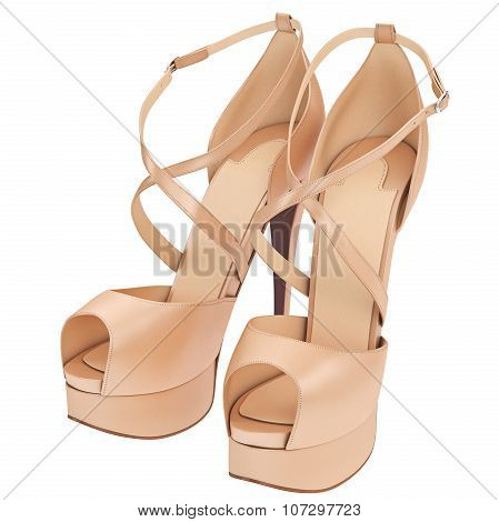 Leather beige shoes with heels