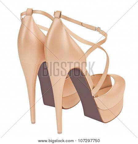 Women's beige leather shoes with heels