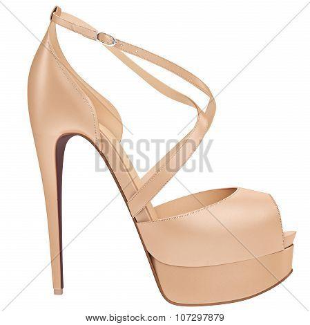 Women's beige leather sandal, side view