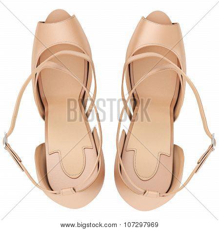 Beige sandals with heels, top view