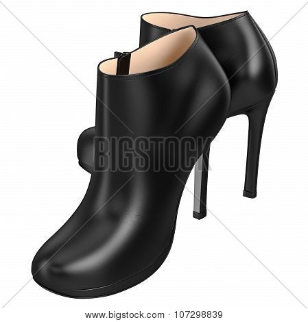 Leather black boots with zipper