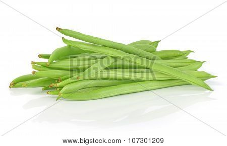 Pile Of Green French Beans In Isolated White Background