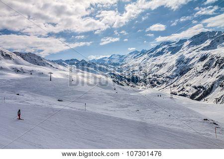 skier on snow hill in Solden Austria extreme winter sport