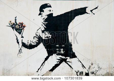 Banksy protest mural