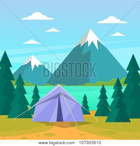 Tent Camping Tourist Forest Mountain Expedition Flat