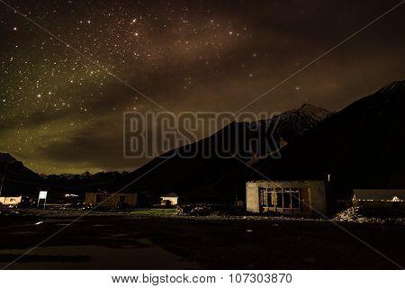 Night and stars at Rangdum Padum Zanskar Valley India.