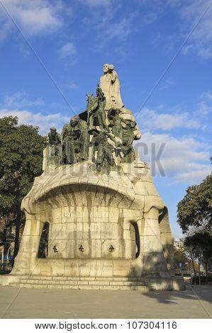 Memorial for Bartomeu Robert Tetuan Square Barcelona (built between 1904 and 1910). Catalan modernist art in the style of Gaudi. poster