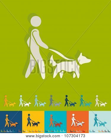 Flat design. walking the dog