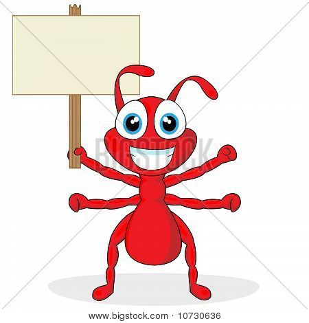 vector illustration of a cute little red ant with blank sign. No gradient. poster