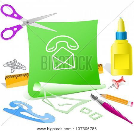 open mail with handset. Paper template. Raster illustration.