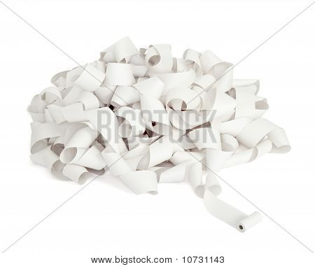 close up of a roll of accounting paper on white background with clipping path poster