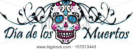 Dia de los Muertos Sugar Skull Logo Icon poster