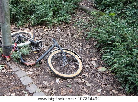 Vandalized  Bicycle With Stolen Parts