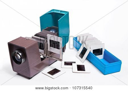 Vintage Filmstrip Projector On The White Background.