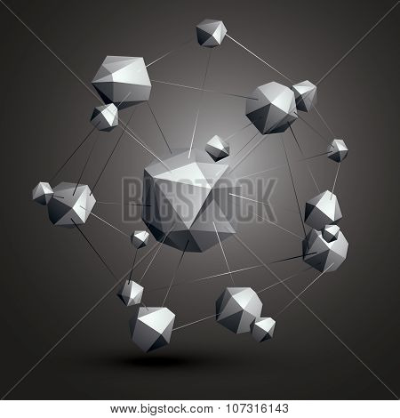 Abstract asymmetric vector monochrome object constructed from different elements complicated geometric shape grayscale. poster