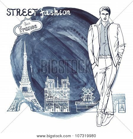 Trendy  dude.Paris street fashion.Watercolor ink stein