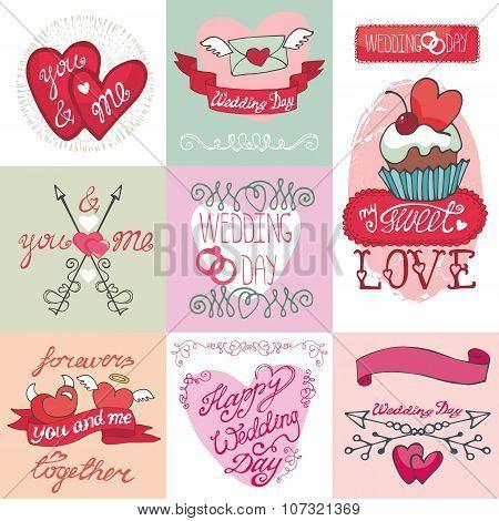 Wedding cards kit.Invitations,Labels,decorative element set