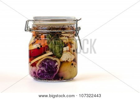 Jar Of Brined Lacto-fermented Pickles.