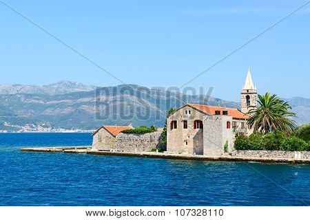 Otok Island (Gospa od Milo) with Jesuit monastery and church of the Blessed Virgin in Tivat Bay Montenegro poster