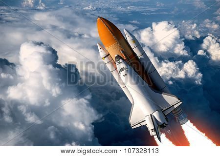 Space Shuttle Launch In The Clouds