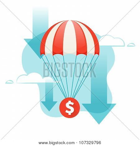 Dollar Falling. Coin Descends By Parachute