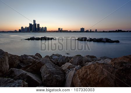 River Skyline Overlooking Detroit, Michigan as seen from Windsor, Ontario