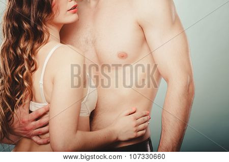 Sexy Couple. Half Naked Man And Woman In Lingerie.