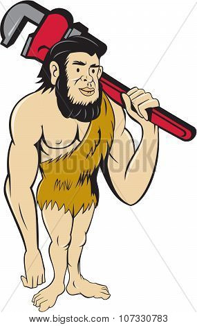 Neanderthal Caveman Plumber Monkey Wrench Cartoon