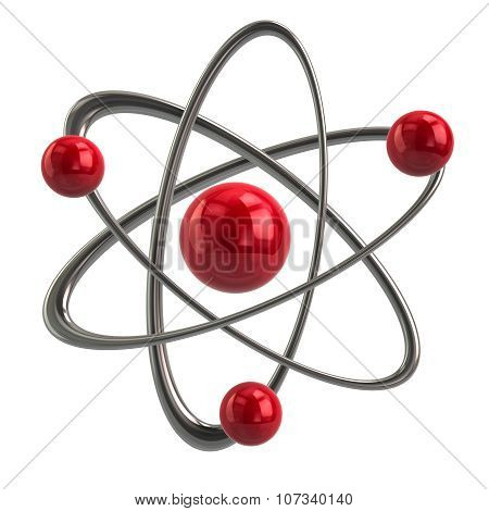 Illustration of red atom icon on white background