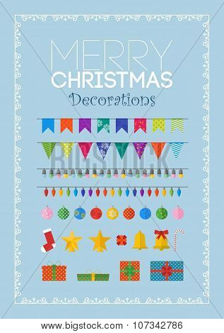 Set Of Christmas Decorations And Gifts