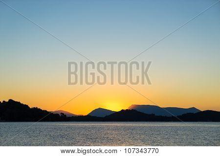 Sunrise on the bay of Nidri in Lefkas island Greece