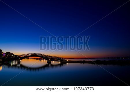Bridge on the Ionian island of Lefkas Greece at sunset