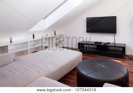 Leather Pouf In A Room