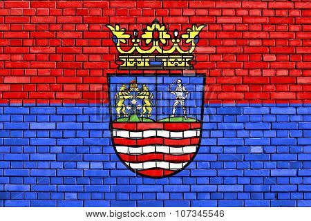 Flag Of Gyor-moson-sopron County Painted On Brick Wall