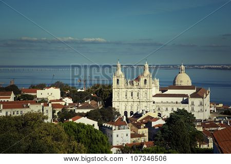 View of the Church or Monastery of Sao Vicente de Fora in Lisbon, Portugal