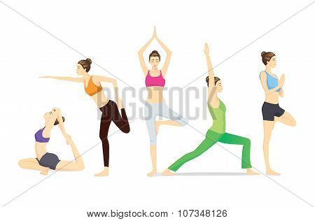Beauty women group in sportswear posing different yoga posture poster