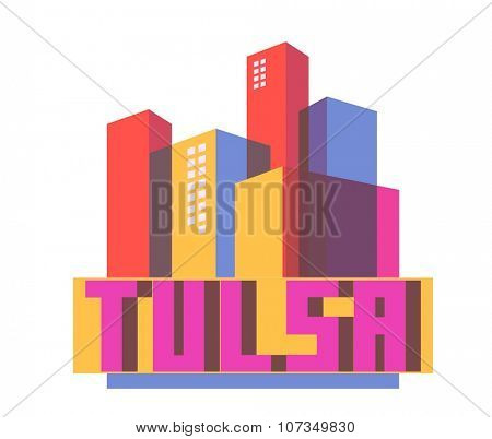 Tulsa destination brand logo. vector cartoon