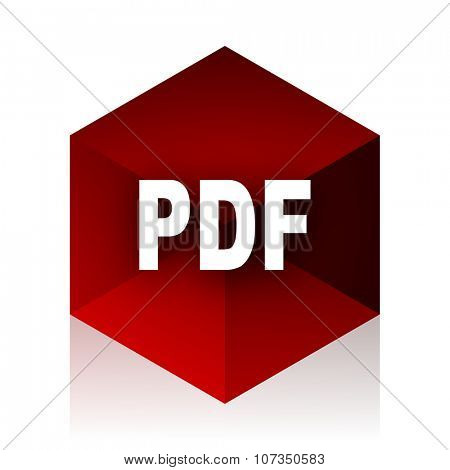pdf red cube 3d modern design icon on white background