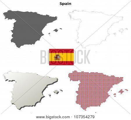Spain outline map set