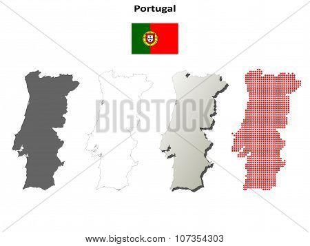 Portugal outline map set