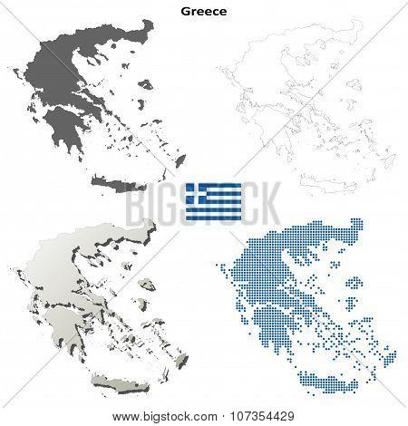 Greece outline map set