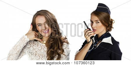 Call Me. Collage, Beautiful smiling stewardess with cb radio, isolated on a white background
