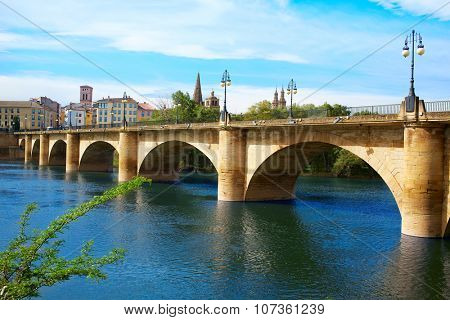The Way of Saint James in Logrono bridge Ebro river at Spain