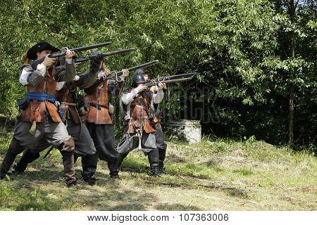 CESKY RUDOLEC. CZECH REPUBLIC -  9th July 2011 Musketeers in period dress firing rifles.