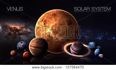 Venus - 5K resolution Infographic presents one of the solar system planet. This image elements furnished by NASA. poster