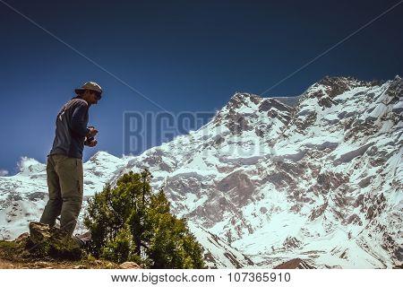 Trekker In front of Nanga Parbat